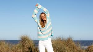 Aqua and chalk stripe cashmere jumper by Laura Chambers