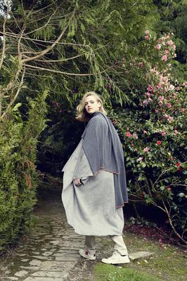 Large scarf in 100pc cashmere, €395, available in grey with signature orange trim; Linen Kimono, €395.
