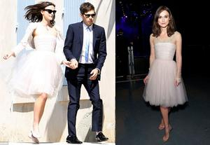 Keira Knightley on her wedding day (left) and at a charity event