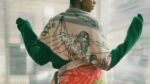 One of Electronic Sheep duo Brenda Aherne and Helen Delany's scarves exploring political themes including the 1916 Rising. Photos: Sonya Molansky, Emma Prenderville