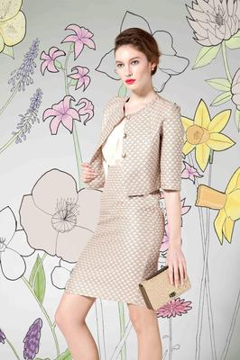5. Quilted dress and matching jacket in a light pastel shade,(€239.95 & €209.95 Kilkenny Store)