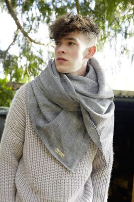 Black check single layer large scarf in 100pc Irish linen, €150, available in a variety of colours.