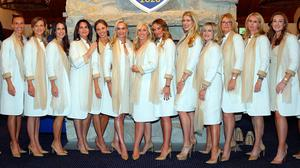 The wives and girlfriends of Team Europe, with Caroline Harrington, centre. Picture: Getty