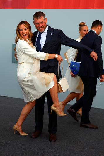Lee Westwood from England and Team Europe and wife Helen Storey.  Getty