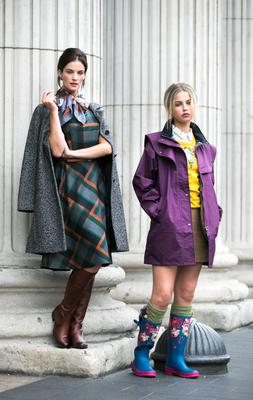 Karen Fitzparick is wearing a tweed coat (Benetton, €155) and check belted dress (CC, €161)