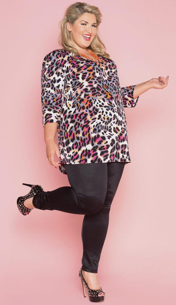 Jean Callaghan Barrett wears tunic and disco pants, Gemma Collins at Simplybe.ie and shoes, Carvela