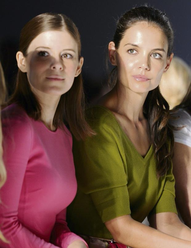 Actors Kate Mara (left) and Katie Holmes attend New York Fashion Week.