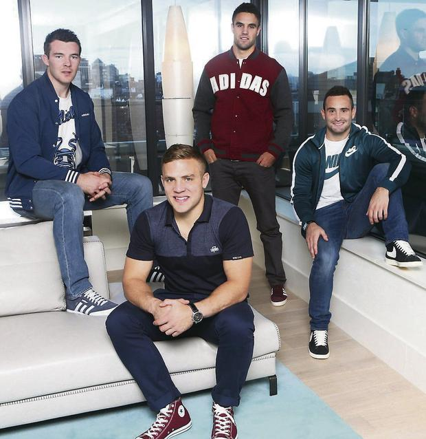 Munster skipper Peter O'Mahony; Leinster's Ian Madigan; Munster's Conor Murray; and Leinster's Dave Kearney in Life Style Sports fashions