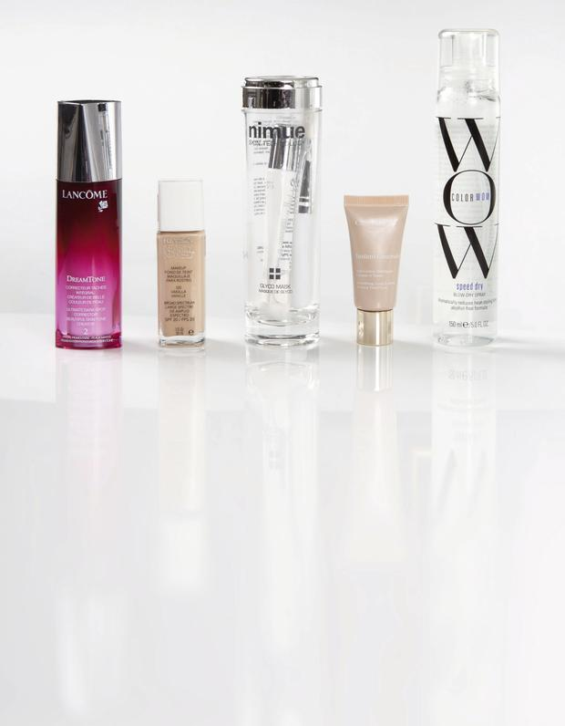 Pictured, from left: Lancome DreamTone; Revlon Nearly Naked Makeup SPF 20; Nimue Glyco Mask; Clarins Instant Concealer; Color