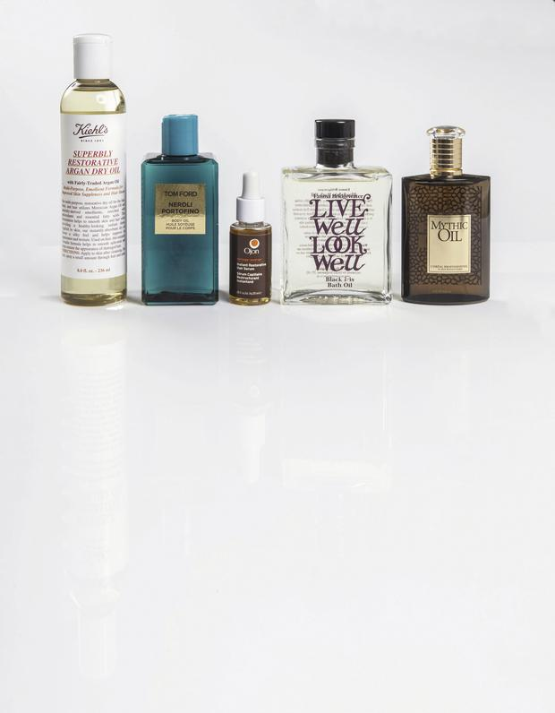 From left: Kiehl's Superbly Restorative Argan Dry Oil, €39.95, 35 Wicklow St, D2; Dundrum Town Centre, D16; Arnotts, Tom Ford Neroli Portofino Body Oil, €53, Brown Thomas Dublin and Cork, Ojon damage reverse Instant Restorative Hair Serum, €26.50, from selected branches of Boots , Emma Bridgewa