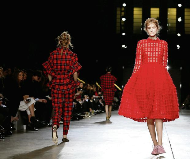 A model presents a creation from Simone Rocha Autumn/Winter 2014 collection during London Fashion Week February 18, 2014.