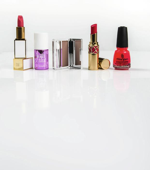 Pictured, from left: Tom Ford Lip Colour Sheer in Paradiso; Benefit Lollitint; Clinique All About Shadow Soft Matte in Nude Rose; YSL Rouge Volupte in Rose Asarine; China Glaze Nail Lacquer in Pool Party