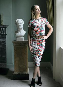 Thalia Heffernan in a Coleen Rooney scuba top (€36) and skirt (€46) for Littlewoods. Picture: Leon Farrell/ Photocall Ireland