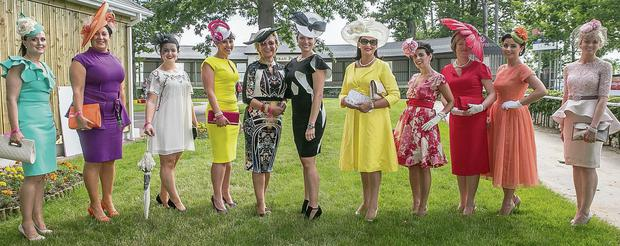 Caroline Morahan with the Best Dressed Lady finalists, Anna Phelan, Breda Miley, Elana Moylan, Diana Morrissey, Maura Leavy, Faith Amond, Trional Crosse, Moira O'Donnell, Sarah Cass and Julie Muldowney at the Littlewoods Ireland Ladies Day at Gowran Park Racecourse. James Flynn/APX