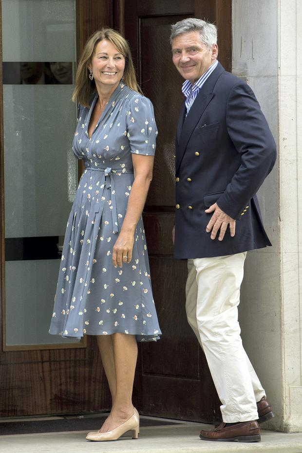 Kate's mother Carole visits the Duchess in hospital wearing a patterned tea-dress by Kiely