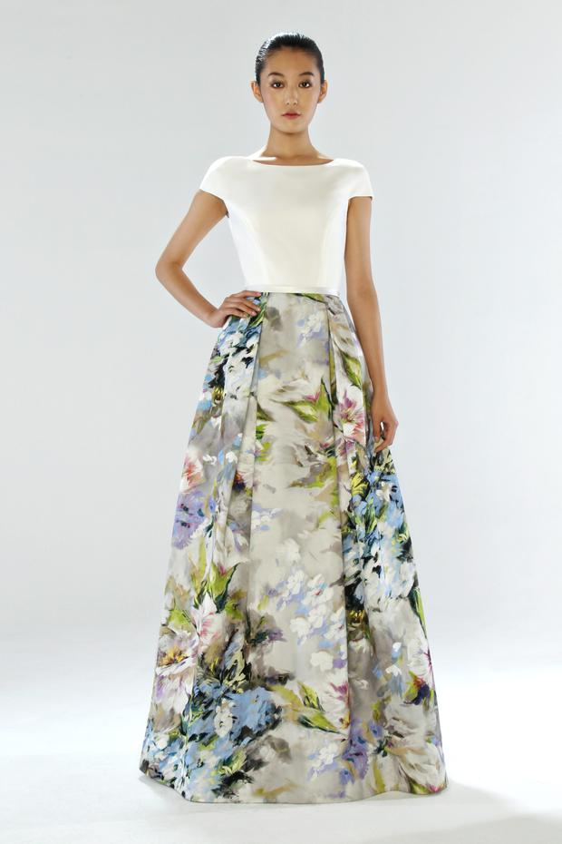 Grown up floral dress with voluminous skirt and slim, pared back, cream top with subtle capped sleeve