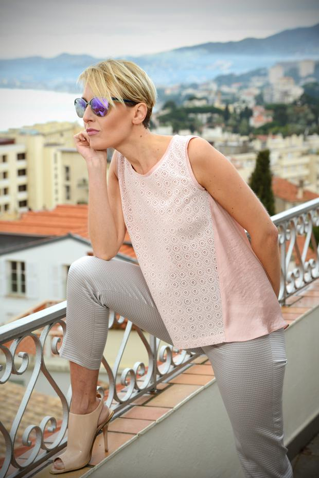 Pink broderie anglaise silky top with contrasting back, €110, taupe embossed cropped trousers, €139