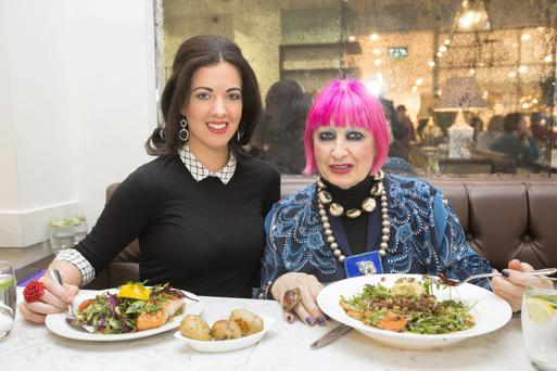 Table talk: Zandra Rhodes with Deirdre Reynolds in Clodagh's Kitchen in Arnotts.