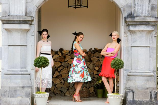 L-R: Self Portrait white dress, €300; Mary Katrantzou print dress, €2,375; and Victoria, Victoria Beckham strapless dress, €785, all from Brown Thomas Cork. Photo: Brian Gavin Press 22