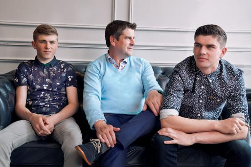 Brian Duignan wears Ted Baker tropical print polo shirt, €89.95; Originals by Jack & Jones, grey skinny jeans, €49.95 Michael Duignan wears R2 Westbrook print shirt, €89.95; Gant v-neck knit, €115; classic blue chinos, €129 Seán Duignan wears Farah slim-fit black and white print shirt, €79; Levis 511 dark wash jeans, €99.95; Converse, €89.95; Happy Socks, €9.95Sean Jackson