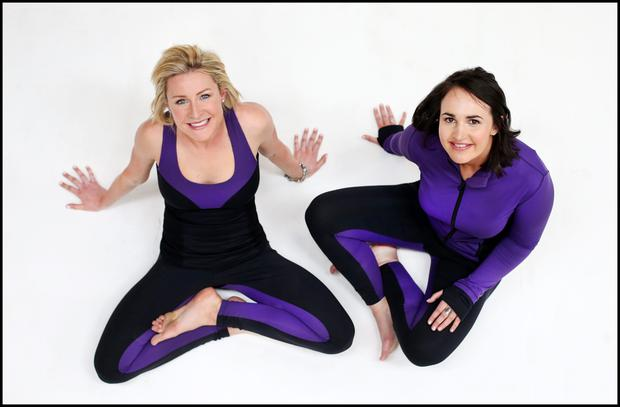 Grace O'Rourke and Aoife Connolly in their Grape and Gander sportswear pieces. Photo: Steve Humphreys