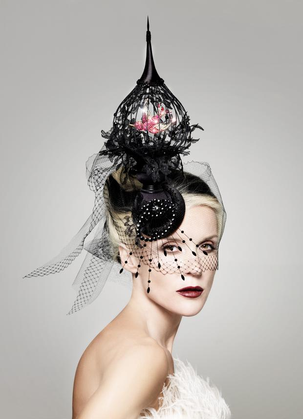 Daphne Guinness photographed by Philip Treacy for Vogue Italia in 2008.