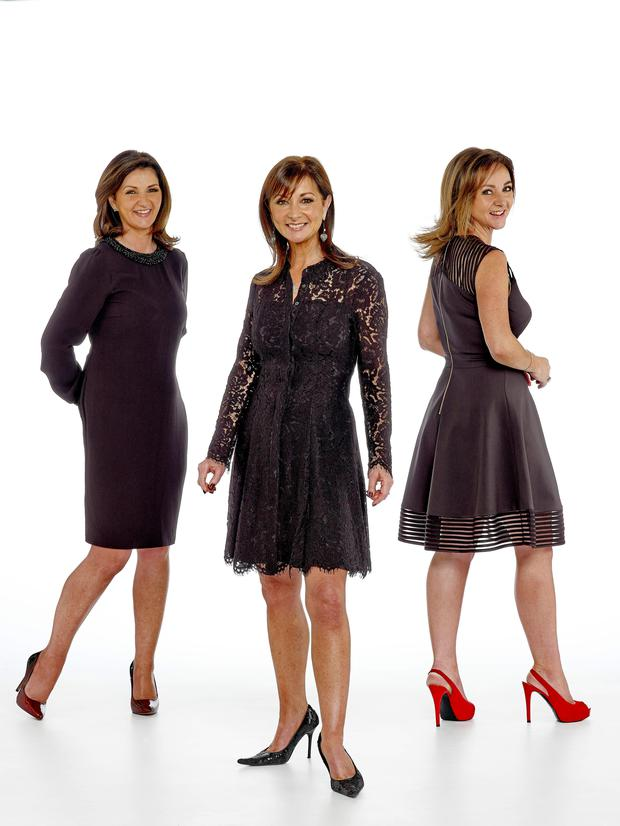 Cathy wears Hallhuber dress with beaded collar and cuffs, €159, House of Fraser; Wendy wears Whistles eyelash lace dress, €250, House of Fraser; Lisa wears Ted Baker dress, €260, House of Fraser, Dundrum Town Centre. Photo: Breffni Ryan
