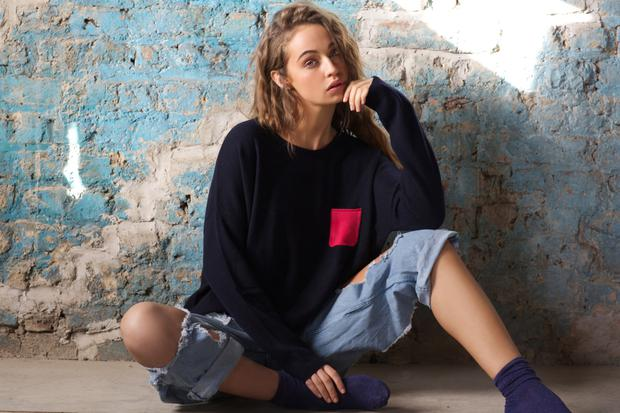 Round neck cashmere jumper with hot pink pocket, €265, also available in tangerine with navy pocket.