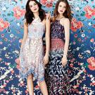 From left, Lucinda hanky hem dress, €88 and placement print maxi, €122, from the Oasis V&A collection
