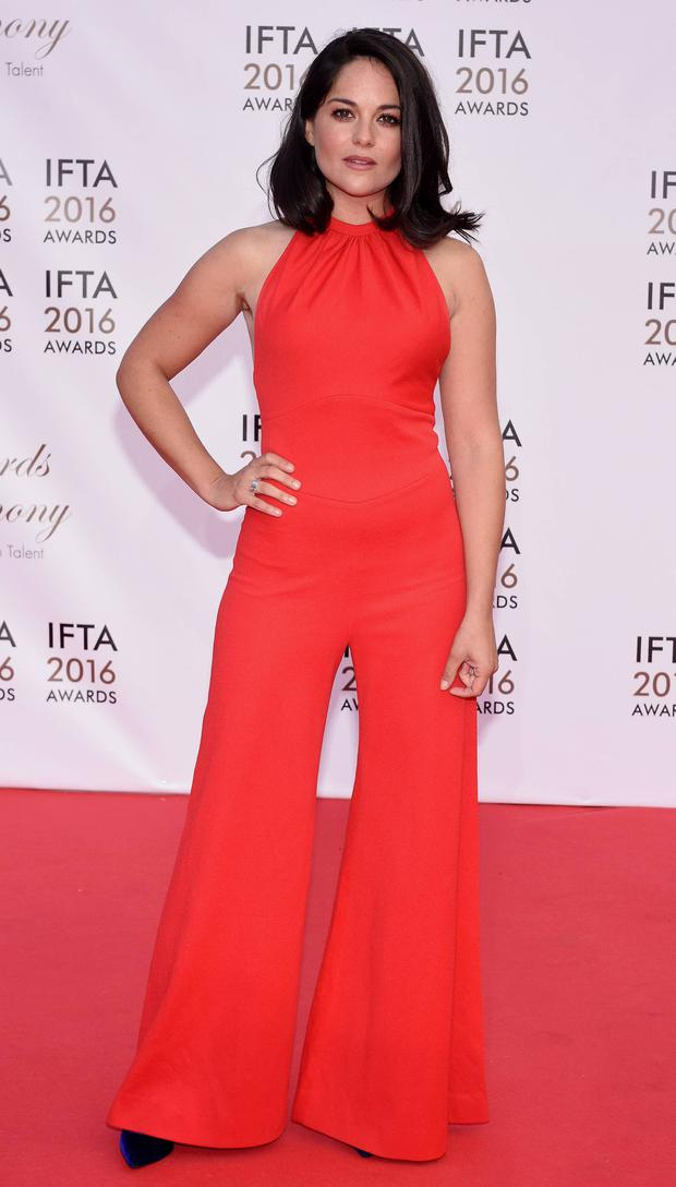 Sarah Greene in a red jumpsuit at the IFTAs after her dress failed to arrive in time. Photo: Vipireland.com