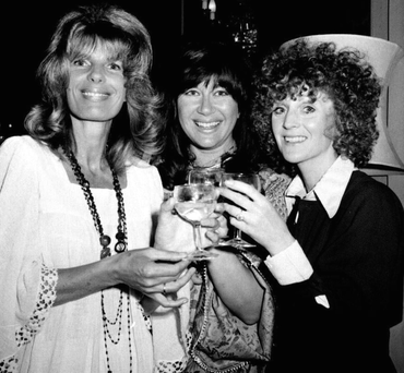 Liver birds: From left, Carla Lane, Nerys Hughes and Polly James Photo: PA