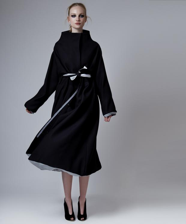 Black and silver architectural 3D coat, €2,470, Mary Gregory.