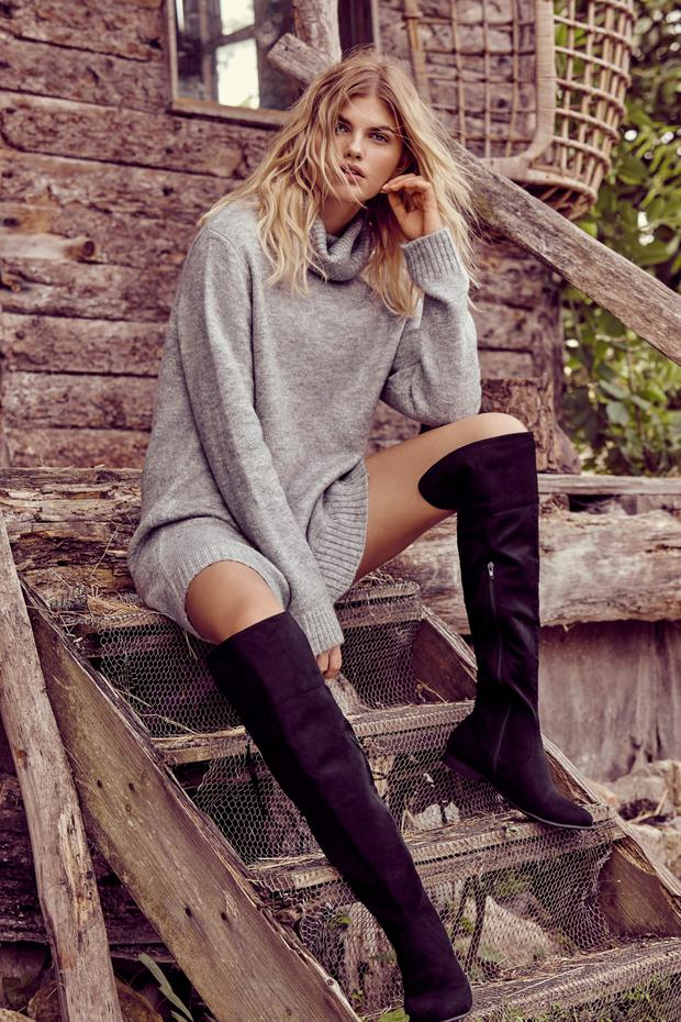 Jumper dress, €20, over-the-knee, boots, €35