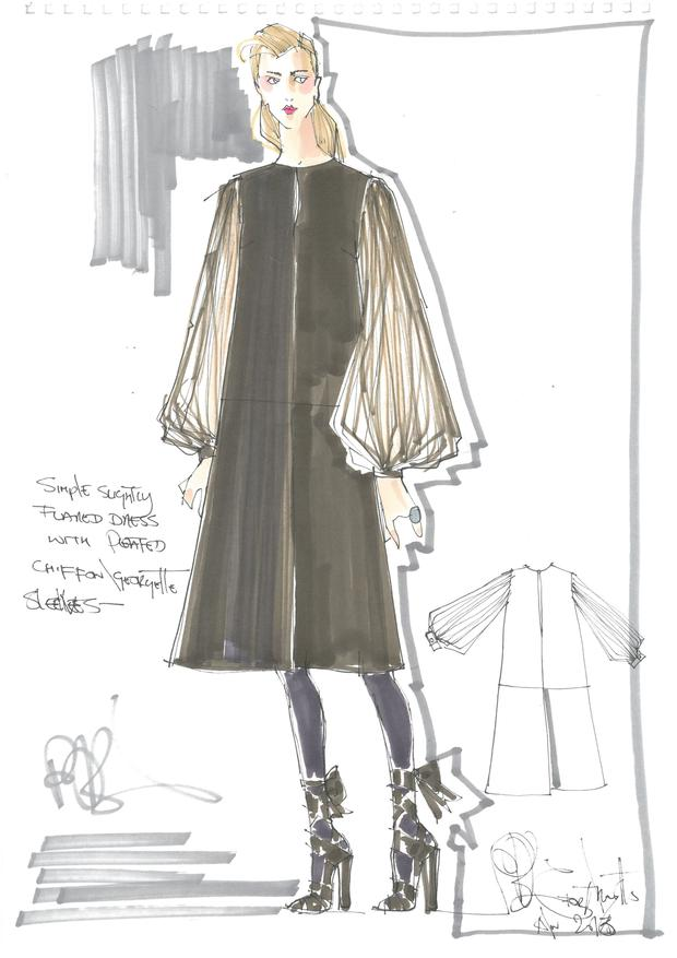 Peter O'Brien's drawing for the 'nothing' dress