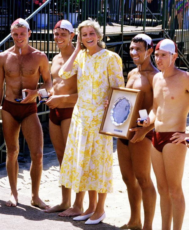 The Princes of Wales meeting lifeguards at Terrigal beach during her visit to Australia, January 1988. She is wearing a Paul Costelloe dress. (Photo by Jayne Fincher/Getty Images)
