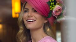 Fifi headpiece Swirls of hot pink crinoline decorated with peony roses in tones of pink, orange, ivory and yellow, €395 Carol Kennelly Millinery Candy pink cashmere pencil dress, €475, Tina Griffin Designs, Tina Griffin Designs Gurrane East, Killorg