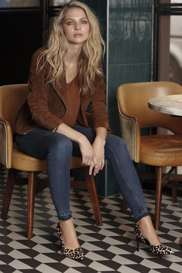 Suede jacket, €59.99, top, €5.99, jeans, €12,99, shoes, €24.99