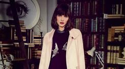 Pink 'Florence' coat, €95, swallows knitted jumper, €52, merlot cord skirt, €42