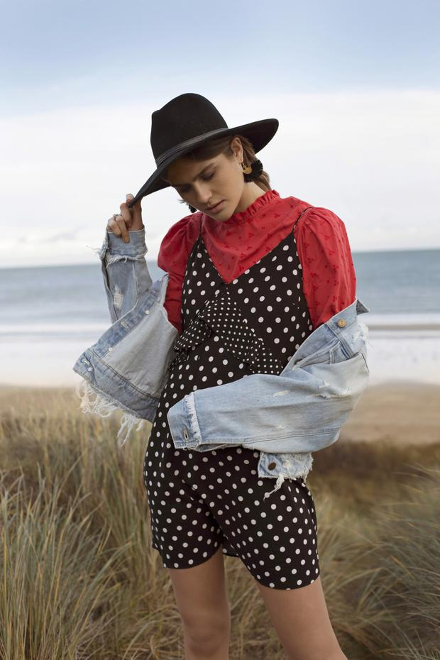 Black hat, €10, Earrings €3, Polka Dot Dress €12, Ruffle High Neck Blouse €13, Rip and Repair Denim Jacket €21,