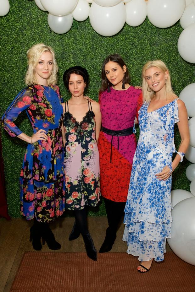 In bloom: Guests Portia Freeman, Billie JD Porter, Lilah Parsons and Ashley James all wear Studio by Preen dresses at the launch party