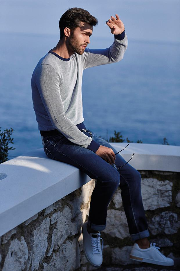 Popcorn weave cotton knit, €169, Gran Sasso; jeans, €579, available in slim and regular fit, Jacob Cohen; shoes, €299, Magnanni