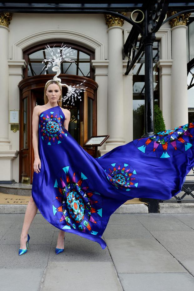 Jennifer Rothwell circular stained-glass digitally printed gown