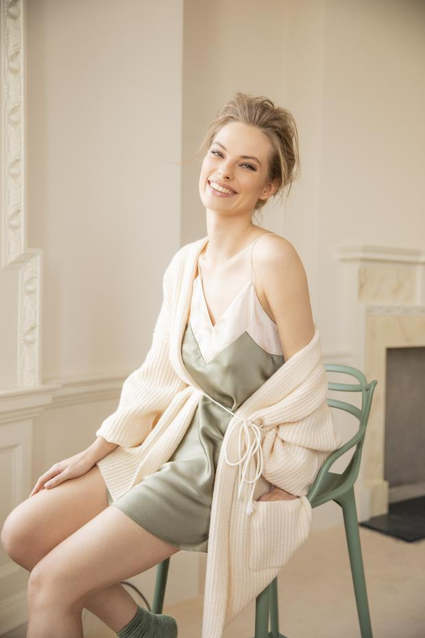 InWear cream mohair mix cardigan, €140; Gina sage green contrast panel chemise, €140, available in sizes 8-14