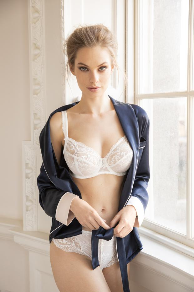 Ginia navy silk wrap pyjama top, part of set, €230; Fantasie white lace bra, €53, available in sizes 30E-36FF, matching brief, €29