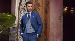 Made-to-measure two-piece suit, €995, linen check waistcoat, €299, striped cotton/linen shirt, €129, pocket square, €29, all Louis Copeland; tie, €119, Canali