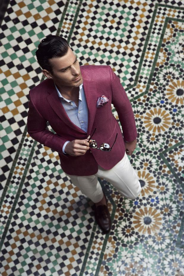Berry linen/silk/wool blend blazer, €599, linen/cotton blend shirt in sky blue, €149, made-to-measure white cotton trousers, €349, all Louis Copeland; brown leather tassel loafers, €299, Magnanni