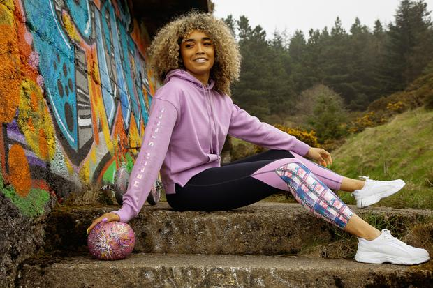 Lilac hoodie, €25, chain panel leggings, €20. White trainers used throughout the shoot, €25, Dunnes Stores