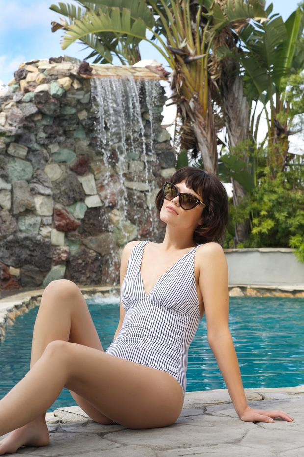 Shapewear Essentials Swimsuit, €32, V by Very Cat Eye Stud Detail Sunglasses, €240, Moschino