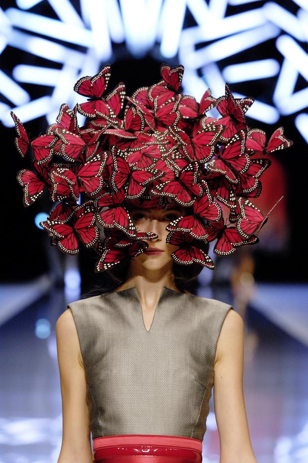 Treacy's iconic butterfly hat created for Alexander McQueen's Spring 2008 collection