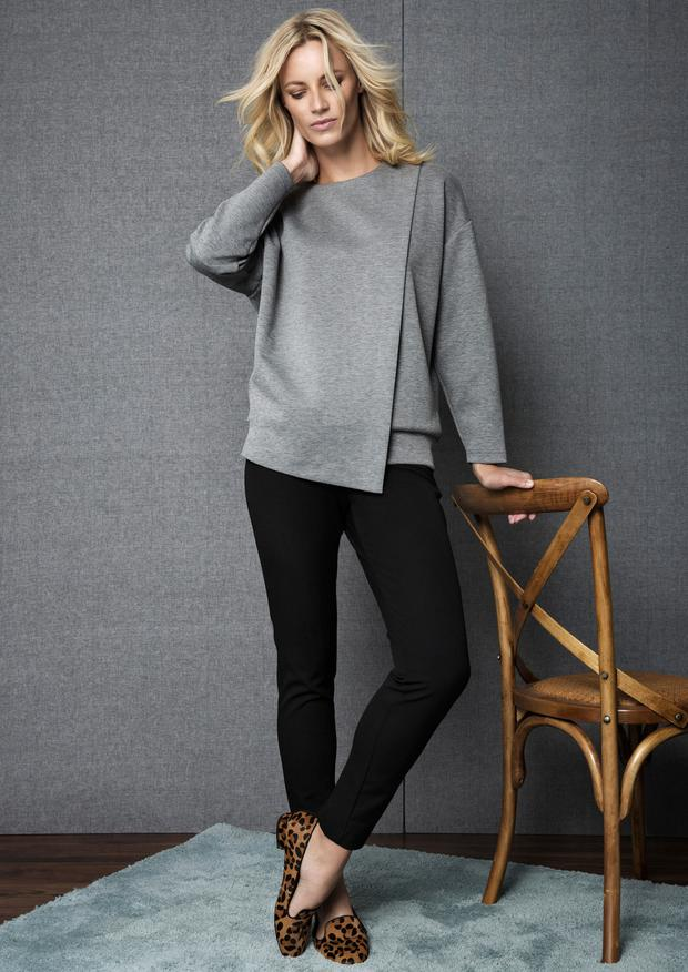 Wrap sweater, €30; side zip trousers, €35; leather loafers, €40 (available early September), Gallery at Dunnes Stores